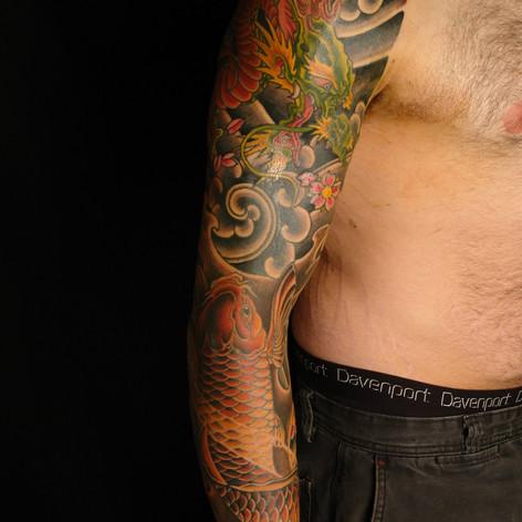 Japanese Dragon and Koi Tattoo