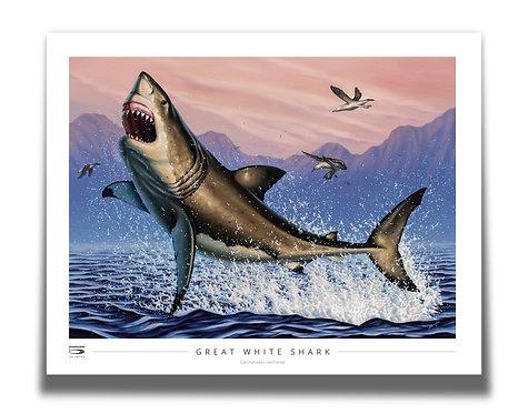 "Breaching White Shark 28"" x 22"" Poster"