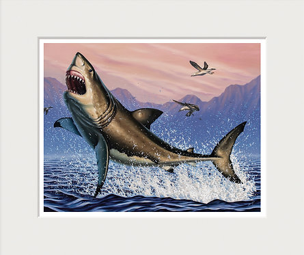 Breaching White Shark Art Print