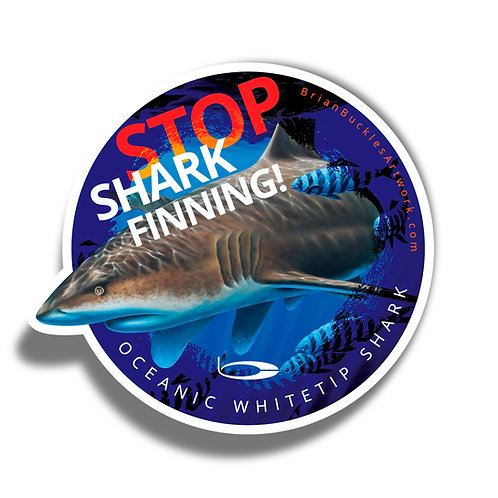 Stop Shark Finning! Oceanic Whitetip Shark Sticker