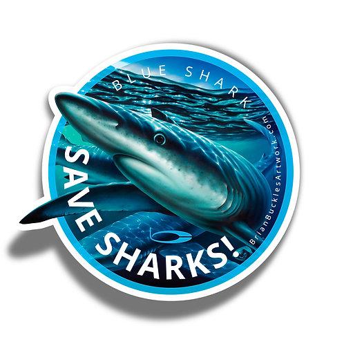 Save Sharks! Blue Shark Sticker