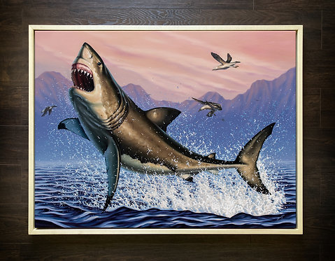 ORIGINAL Breaching White Shark Oil Painting