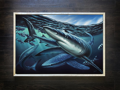 ORIGINAL Blue Shark Oil Painting