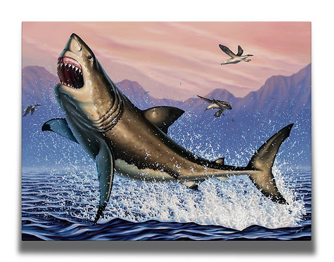 Breaching White Shark Gallery-Wrapped Canvas Print