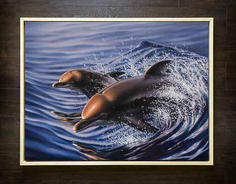ORIGINAL Dolphins Oil Painting