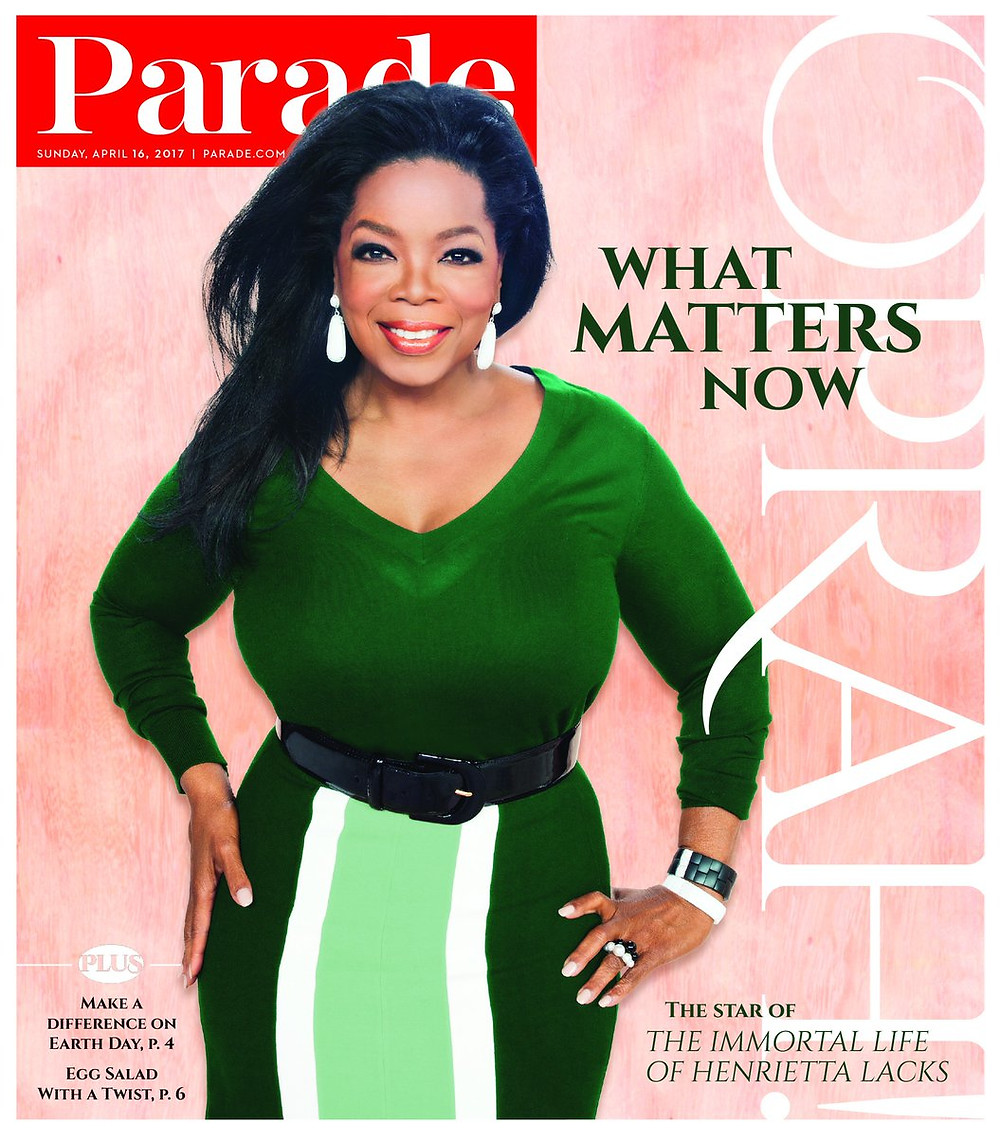 Roberto Demeglio is back in the spotlight again.  Oprah was photographed in the Domino collection on the cover of the April Parade Magazine.  Roberto Demeglio has the red carpet styles you will love.