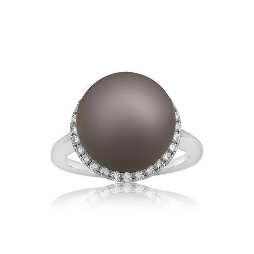 TAHITI AND DIAMOND COCKTAIL RING