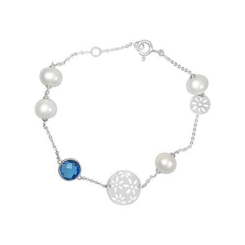 BLUE TOPAZ AND PEARL BRACELET