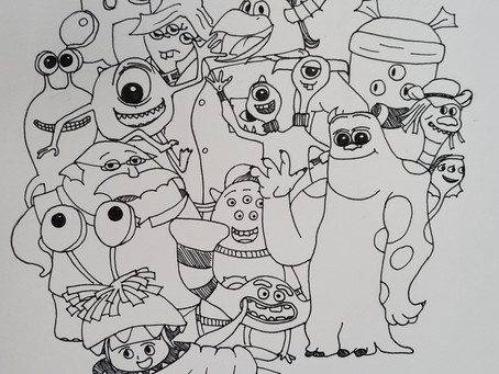 Monster Inc. doodles