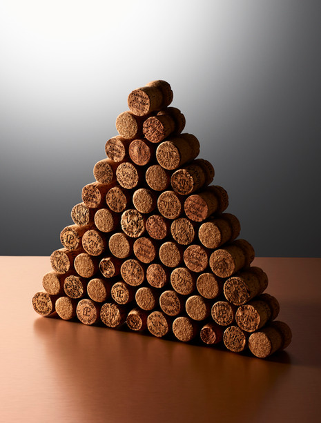 Triangle Geometric stack of wine corks for Waitrose Drinks magazine By Ian Oliver Walsh Still Life Photographer London