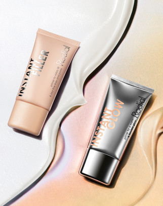 Rodial liquid primer beauty products sat in a pool of texture By Ian Oliver Walsh Still Life Photographer London