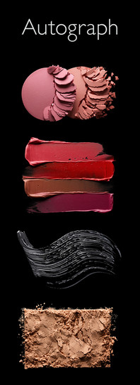 Various makeup textures of mascara lipgloss eyeshadow for Marks and spencers M&S Autograph advertising collection By Ian Oliver Walsh Still Life Photographer London