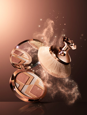 Iconic shimmering makeup powder creating swirling trails of sparkling magical powder. Pings of sparkle and light radiate. By Ian Oliver Walsh Still Life Photographer London