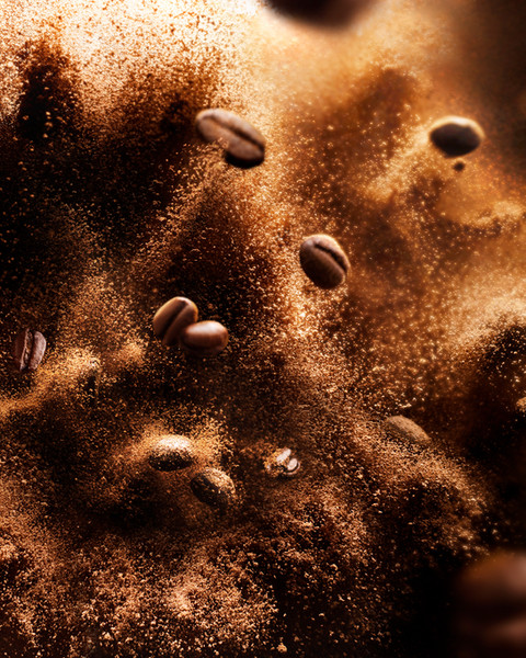 Dynamic Coffee bean explosion at high speed for an advertising drinks campaign By Ian Oliver Walsh Still Life Photographer London