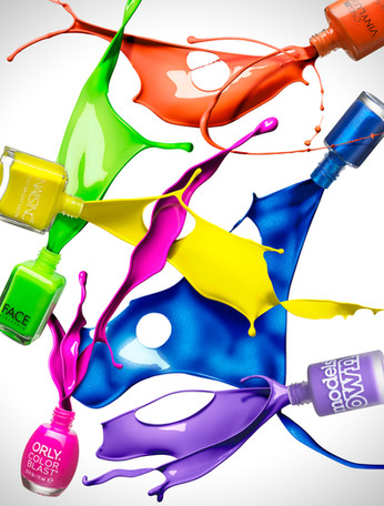 Dynamic nail polish bottles splashing as liquid pours and collides By Ian Oliver Walsh Still Life Photographer London