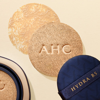 Foundation makeup texture created using an AHC beauty palette on a beige background By Ian Oliver Walsh Still Life Photographer London