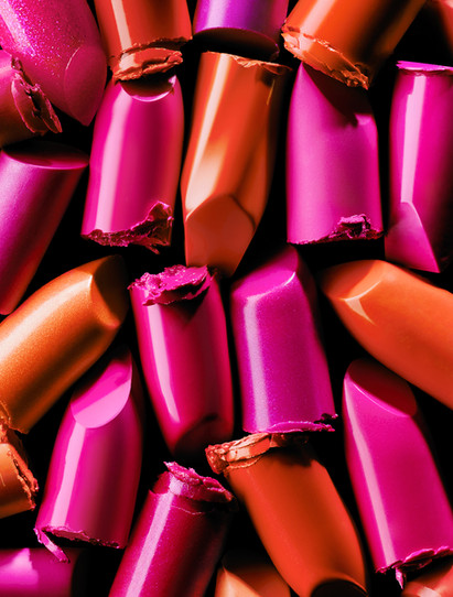 Coloured Lipstick textures chopped and arranged By Ian Oliver Walsh Still Life Photographer London