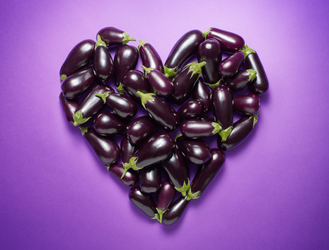aubergines arranged in a heart emoji for a food feature in Stylist magazine By Ian Oliver Walsh Still Life Photographer London