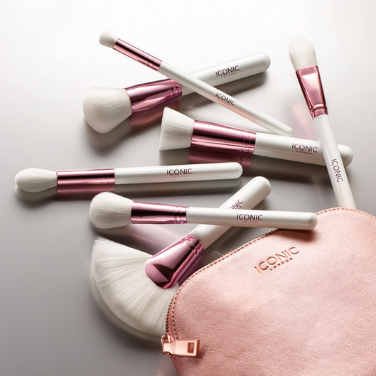 social media image of a Makeup bag spill of iconic london brushes By Ian Oliver Walsh Still Life Photographer London