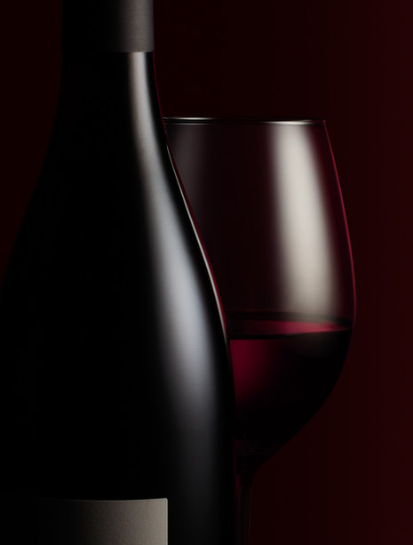 Minimal and moody bottle of red wine and glass for waitrose Drinks campaign By Ian Oliver Walsh Still Life Photographer London
