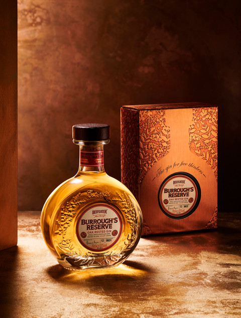 beefeater gin on a rustic bronze background for Waitrose drinks By Ian Oliver Walsh Still Life Photographer London
