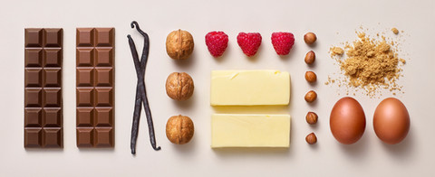 sweet food ingredients as a flatlay as advertising By Ian Oliver Walsh Still Life Photographer London