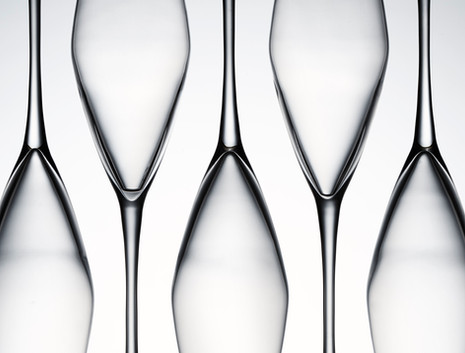 Abstract creative image of glass Champagne flutes showing tone and form for Waitrose Drinks By Ian Oliver Walsh Still Life Photographer London