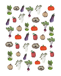 """""""Veggie pattern"""" - Delicious veggies made by color pencils on paper and finished in Photoshop. 2016"""