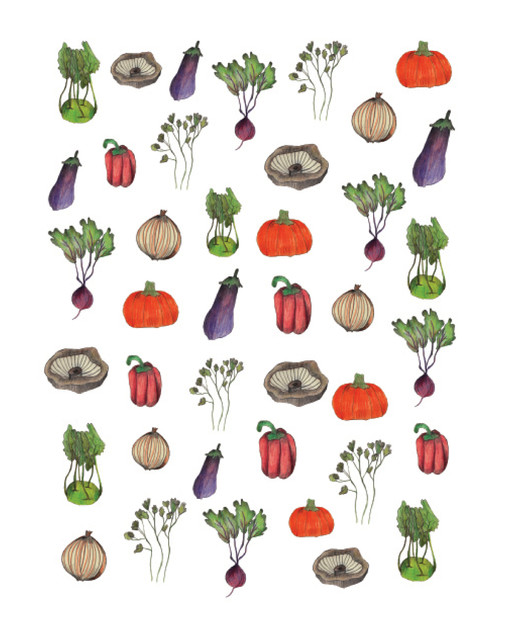 """Veggie pattern"" - Delicious veggies made by color pencils on paper and finished in Photoshop. 2016"