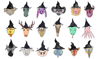 """""""Halloween faces"""" - Cute Witches. Ipad Pro. 2018"""