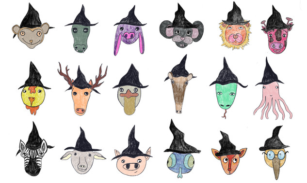 """Halloween faces"" - Cute Witches. Ipad Pro. 2018"