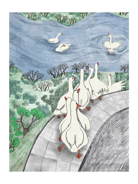 """Ducks"" - These intelligent creatures used to have their own ritual - walking out from the barnyard to get to the nearest river and take a long bath. The view of the group of ducks walking on the sidewalk must have been amusing. Part of the series "" Togetherness"" exhibited in Tokyo. 2019"