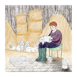 """""""Grooming the rabbits"""" -  My grandmother is combing rabbit's fur to make a mohair beret. This piece is a part of my project """"Togetherness"""" -  a series of illustrations and a short video exploring the bond between farm animals and people in Poland in the 50' and 60'. 2019"""
