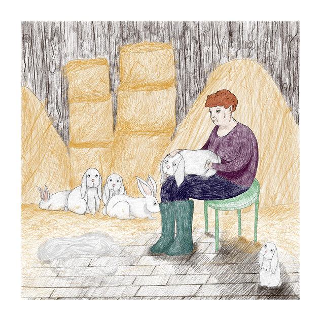 """Grooming the rabbits"" -  My grandmother is combing rabbit's fur to make a mohair beret. This piece is a part of my project ""Togetherness"" -  a series of illustrations and a short video exploring the bond between farm animals and people in Poland in the 50' and 60'. 2019"