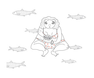"""""""Eating herring"""" - I've got a request to draw a sad girl eating herring. Here it is. 2016"""