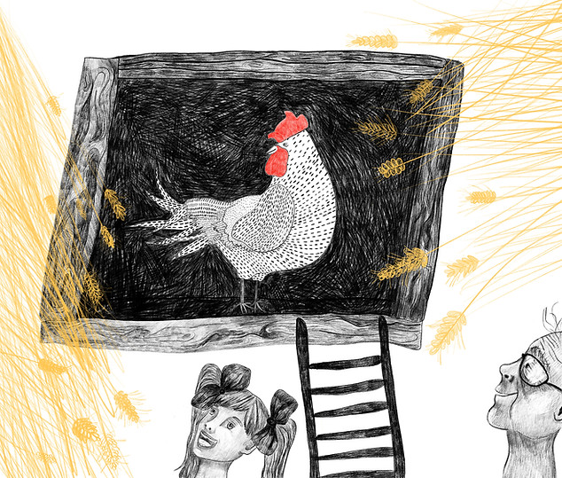 """""""Chickencoop"""" - This piece is a part of the project """" Togetherness"""" about Polish countryside and coexistence of people and farm animals. The illustrations are inspired by my grandma's life. 2019"""