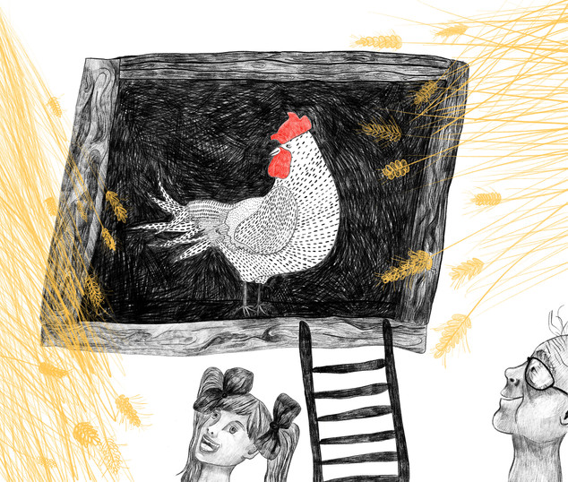 """Chickencoop"" - This piece is a part of the project "" Togetherness"" about Polish countryside and coexistence of people and farm animals. The illustrations are inspired by my grandma's life. 2019"