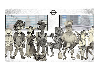 """""""Sounds of the city"""" - Londoners commuting to work. Each of them has a unique story (check my Instagram feed). Mixed media: pencil and digital. Made for Transport For London competition. 2017"""