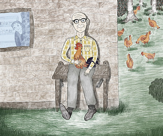 """""""Grandpa and the chicken"""" - It was a special friendship between a man and a chicken. They were inseparable. Part of the series """"Togetherness"""". 2019"""