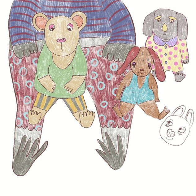 """Teddy Bears"" - Toys in cute outfits. Illustration made on iPad Pro. 2018"