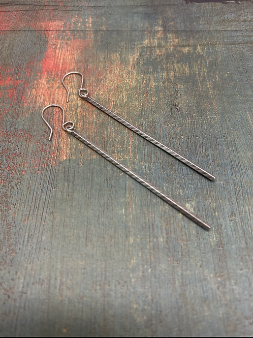 3 inch Stamped Bar Earrings