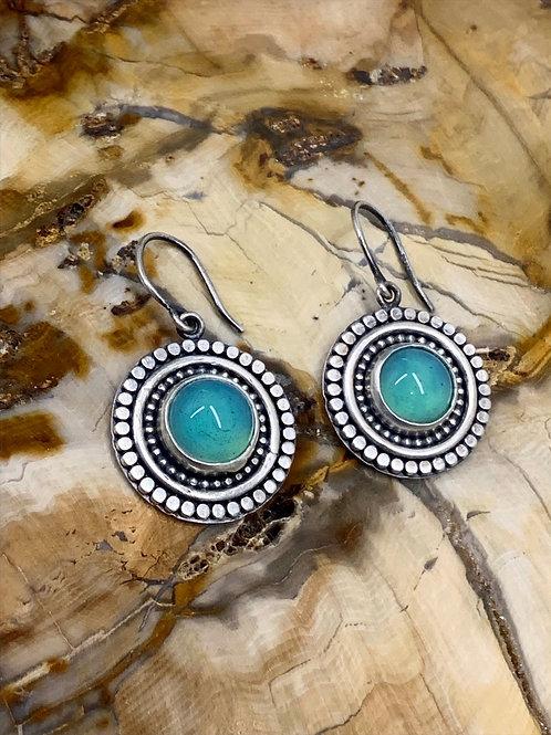 Satin Blue/Teal Glass Earrings
