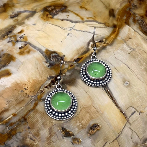Green Glass Earrings