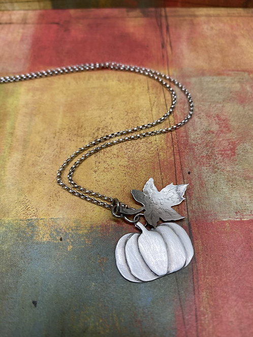 Pumpkin and Leaf Necklace