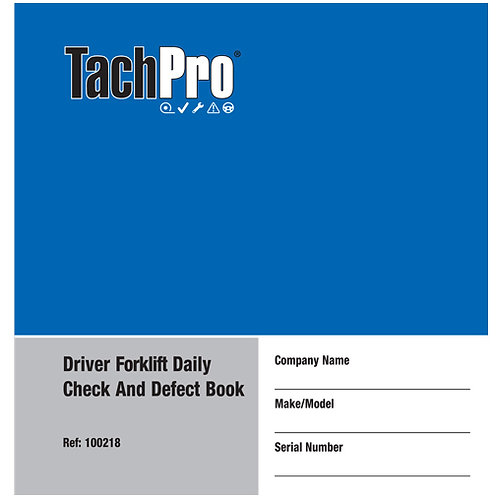 TACHPRO 50 PAGE FORK LIFT TRUCK DAILY CHECK & DEFECT BOOK 100218 PACK OF 4