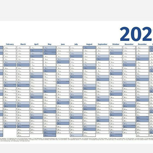 2021 Year Wall Planner - Yearly Annual Calendar