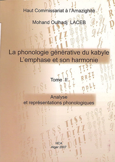La phonologie générative du kabyle   Tome 2