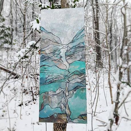 16_ x 40_ acrylic + charcoal on canvas_O
