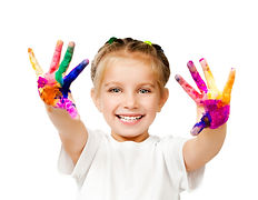 beautiful little girl with her __hands i