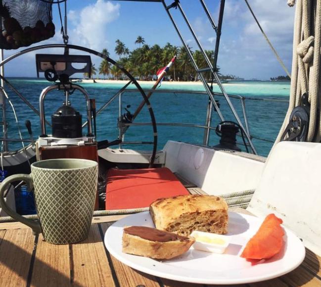 Breakfast on the sailboat